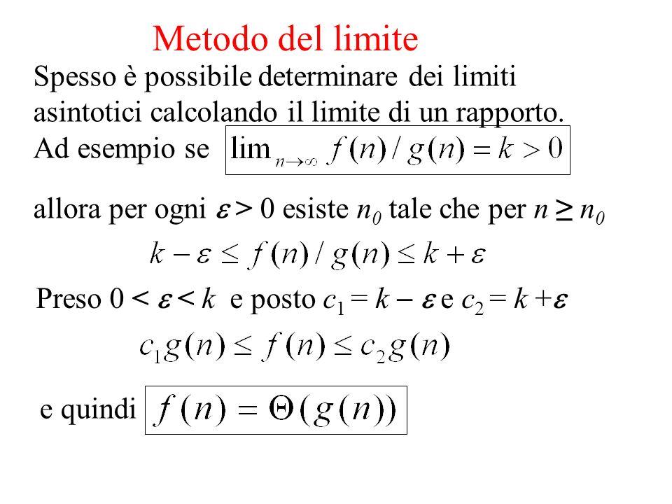 Metodo del limite Spesso è possibile determinare dei limiti asintotici calcolando il limite di un rapporto.