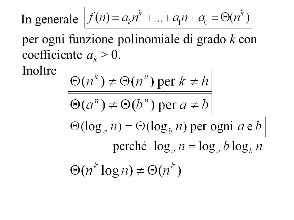 In generale per ogni funzione polinomiale di grado k con coefficiente ak > 0. Inoltre