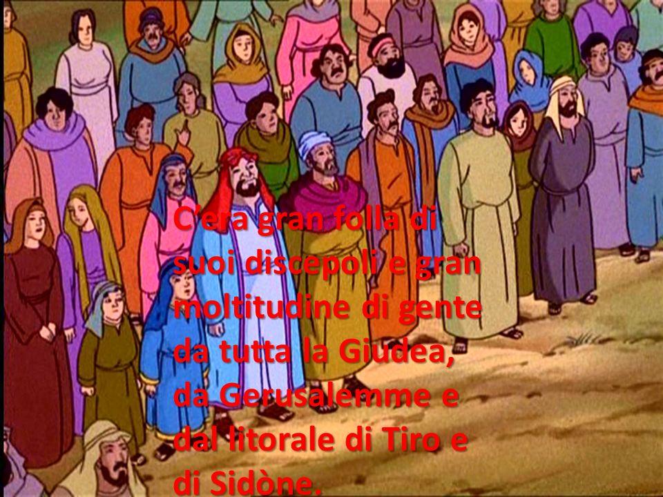 C'era gran folla di suoi discepoli e gran moltitudine di gente da tutta la Giudea, da Gerusalemme e dal litorale di Tiro e di Sidòne.
