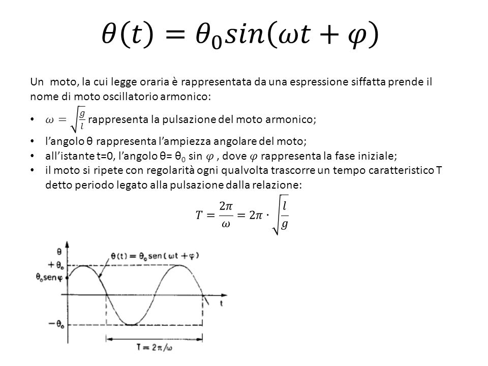 𝜃 𝑡 = 𝜃 0 𝑠𝑖𝑛 𝜔𝑡+𝜑 Un moto, la cui legge oraria è rappresentata da una espressione siffatta prende il nome di moto oscillatorio armonico: