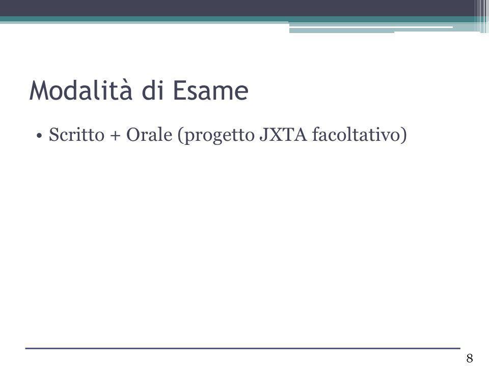 Modalità di Esame Scritto + Orale (progetto JXTA facoltativo)