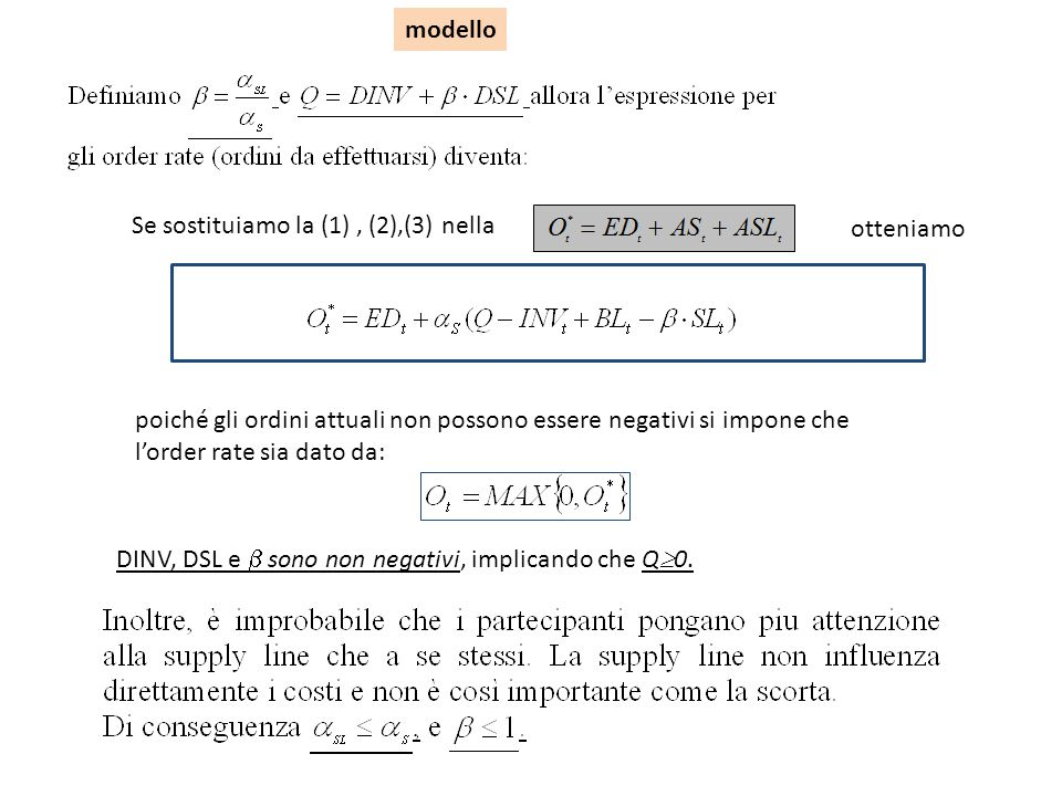 modello Se sostituiamo la (1) , (2),(3) nella. otteniamo.