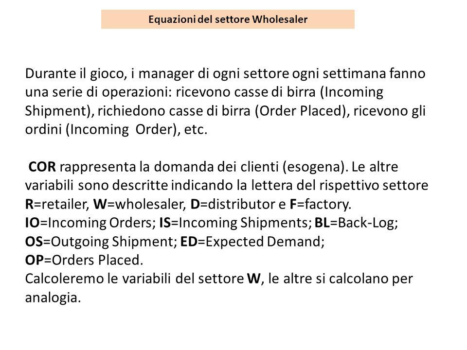 Equazioni del settore Wholesaler