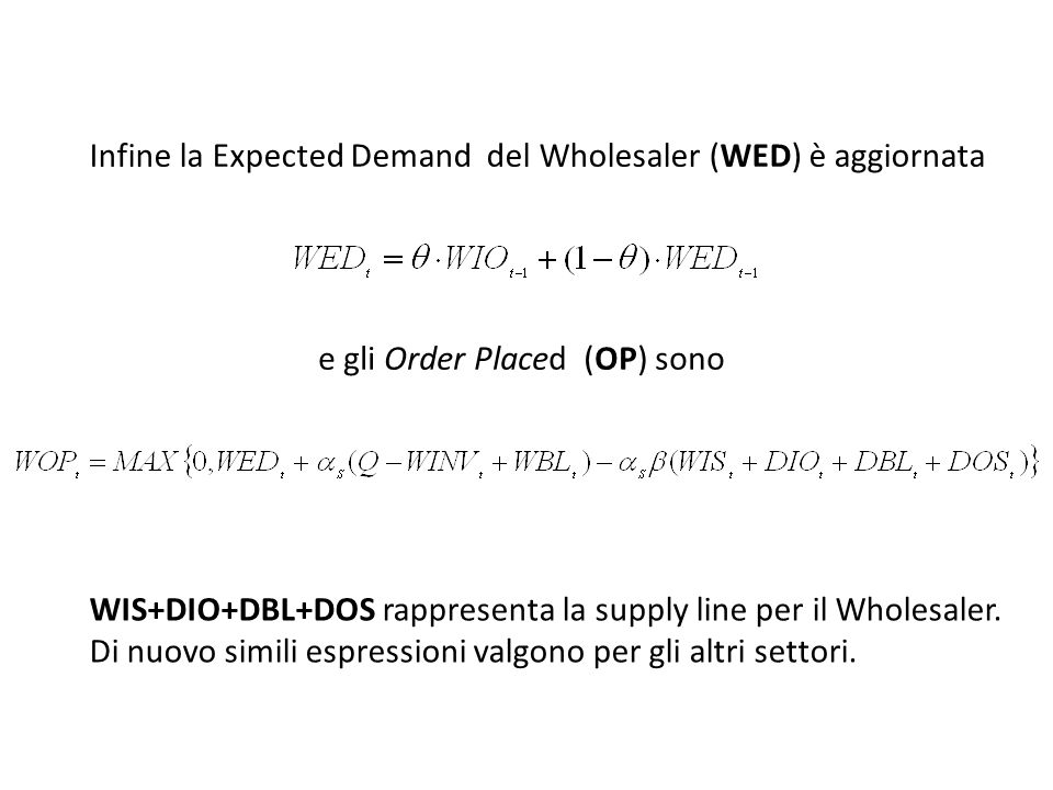 Infine la Expected Demand del Wholesaler (WED) è aggiornata