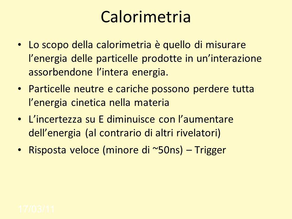 Calorimetria Lo scopo della calorimetria è quello di misurare l'energia delle particelle prodotte in un'interazione assorbendone l'intera energia.