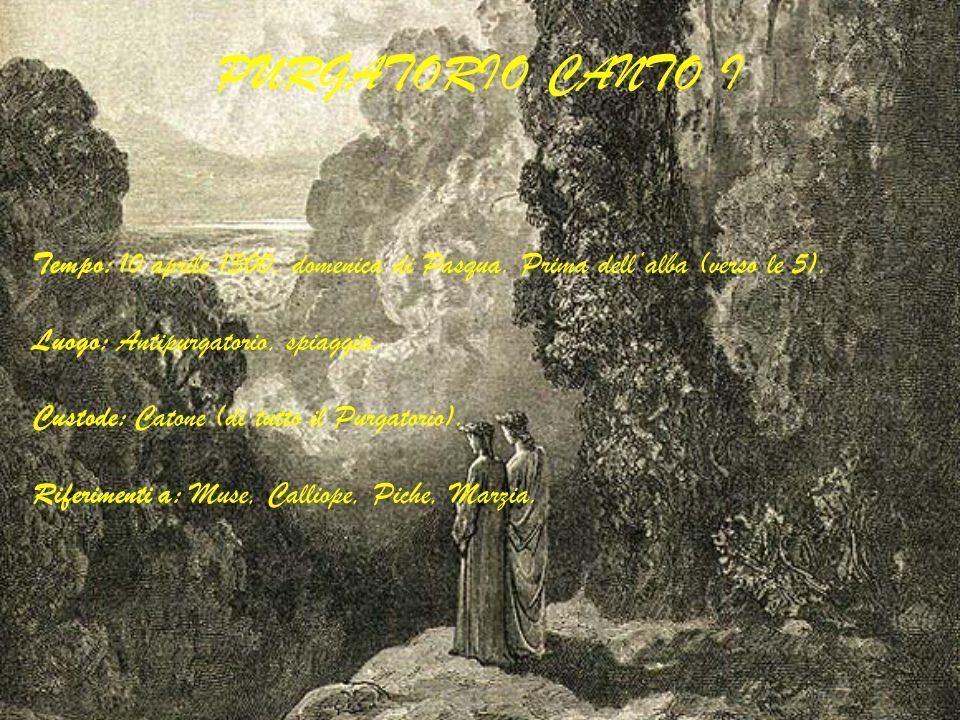 PURGATORIO CANTO I Tempo: 10 aprile 1300, domenica di Pasqua. Prima dell'alba (verso le 5). Luogo: Antipurgatorio, spiaggia.