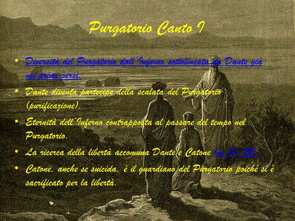 Purgatorio Canto I Diversità del Purgatorio dall'Inferno sottolineata da Dante già nei primi versi.