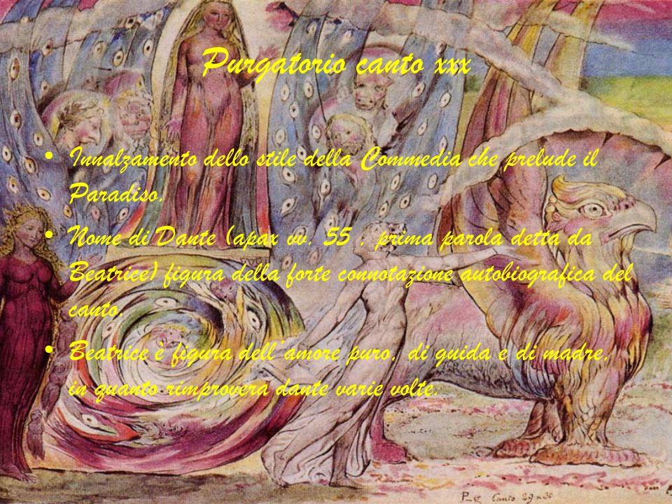 Purgatorio canto xxxInnalzamento dello stile della Commedia che prelude il Paradiso.