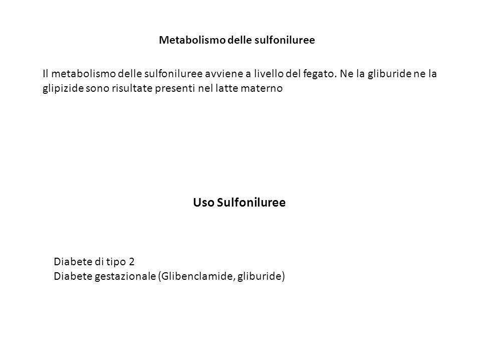 Uso Sulfoniluree Metabolismo delle sulfoniluree