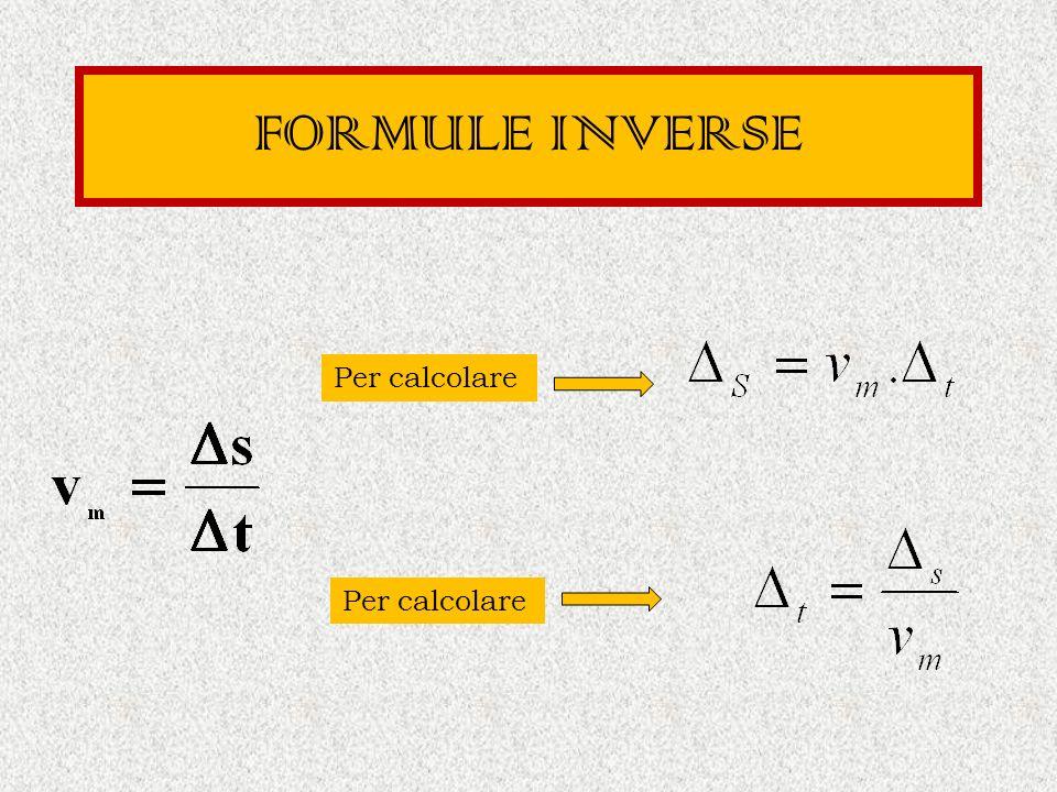 FORMULE INVERSE Per calcolare Per calcolare