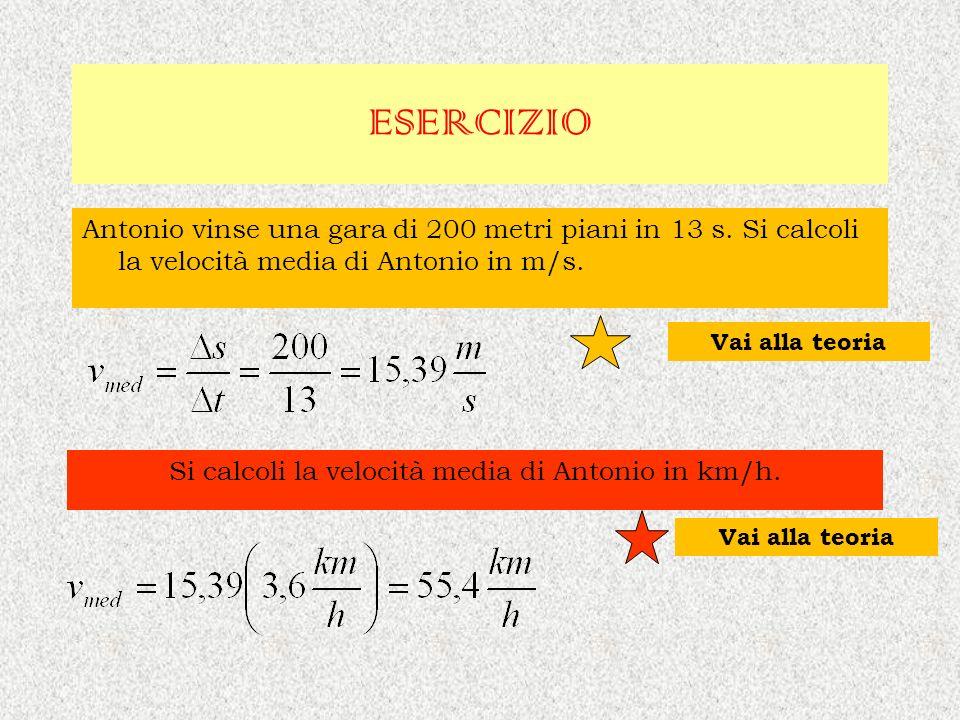 Si calcoli la velocità media di Antonio in km/h.