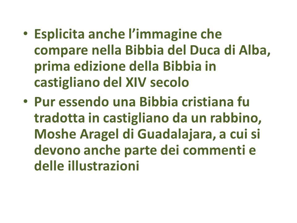 Esplicita anche l'immagine che compare nella Bibbia del Duca di Alba, prima edizione della Bibbia in castigliano del XIV secolo