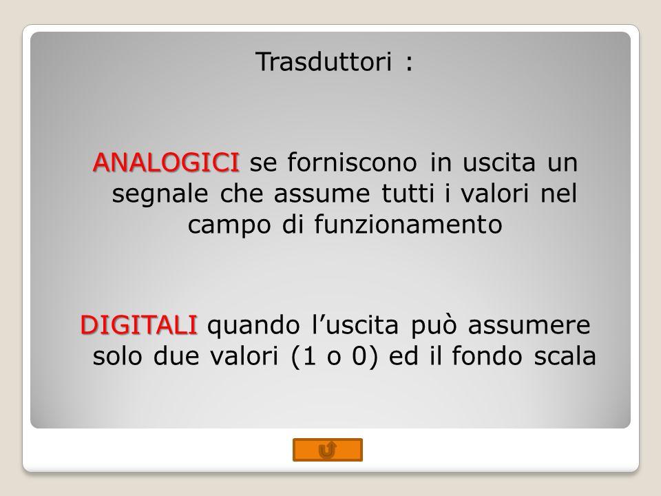 Trasduttori : ANALOGICI se forniscono in uscita un segnale che assume tutti i valori nel campo di funzionamento DIGITALI quando l'uscita può assumere solo due valori (1 o 0) ed il fondo scala