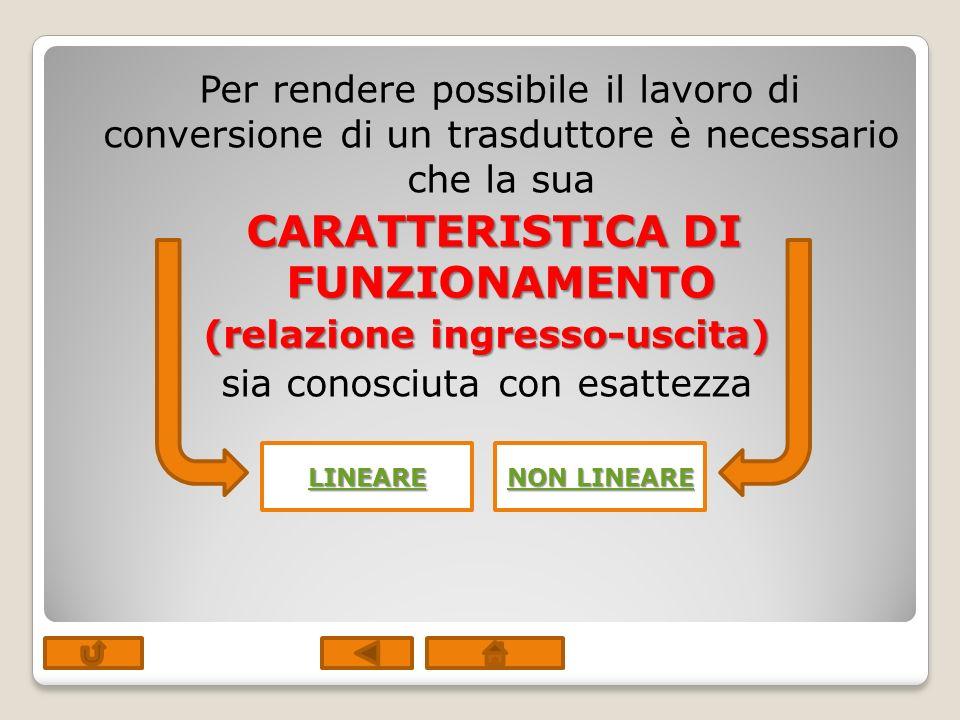 Per rendere possibile il lavoro di conversione di un trasduttore è necessario che la sua CARATTERISTICA DI FUNZIONAMENTO (relazione ingresso-uscita) sia conosciuta con esattezza