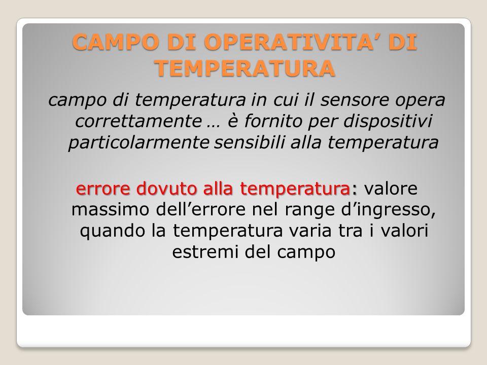 CAMPO DI OPERATIVITA' DI TEMPERATURA