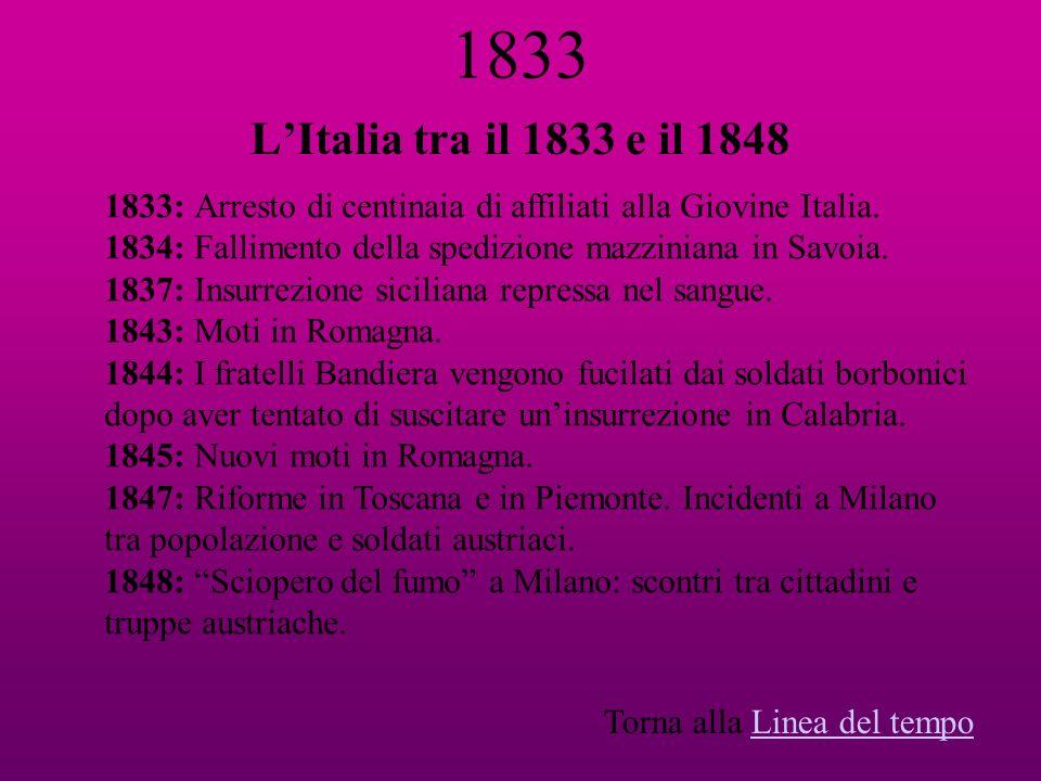 1833 L'Italia tra il 1833 e il 1848. 1833: Arresto di centinaia di affiliati alla Giovine Italia.