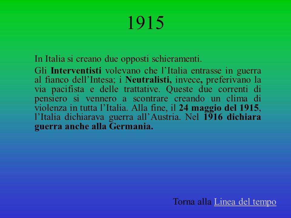 1915 In Italia si creano due opposti schieramenti.