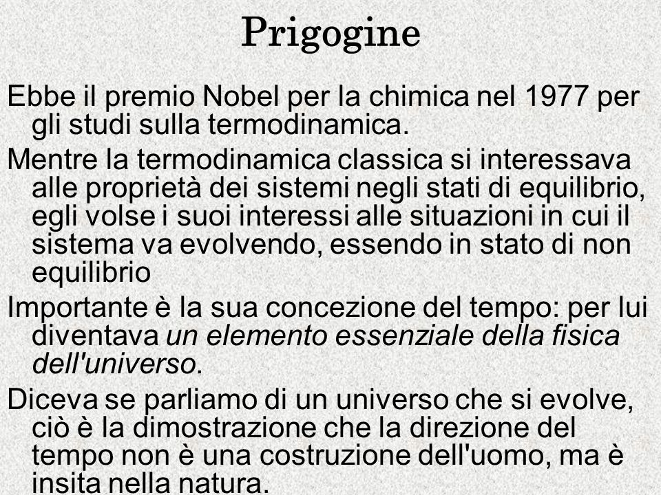 Prigogine Ebbe il premio Nobel per la chimica nel 1977 per gli studi sulla termodinamica.