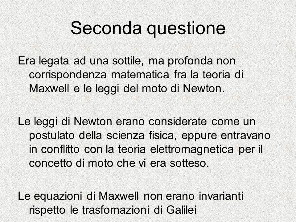 Seconda questione Era legata ad una sottile, ma profonda non corrispondenza matematica fra la teoria di Maxwell e le leggi del moto di Newton.