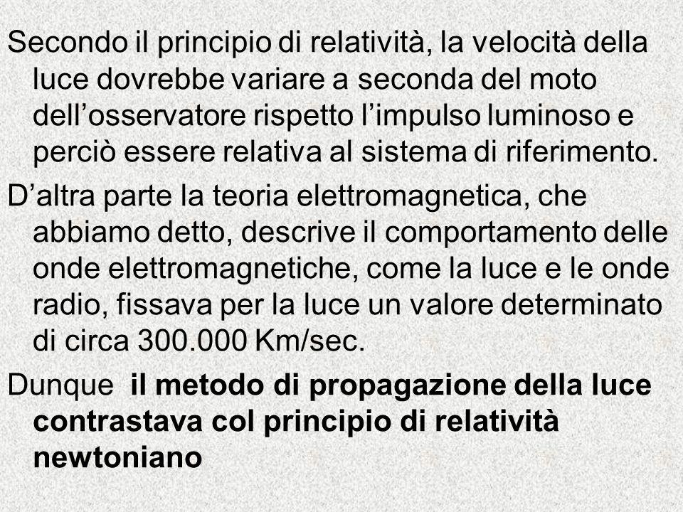 Secondo il principio di relatività, la velocità della luce dovrebbe variare a seconda del moto dell'osservatore rispetto l'impulso luminoso e perciò essere relativa al sistema di riferimento.
