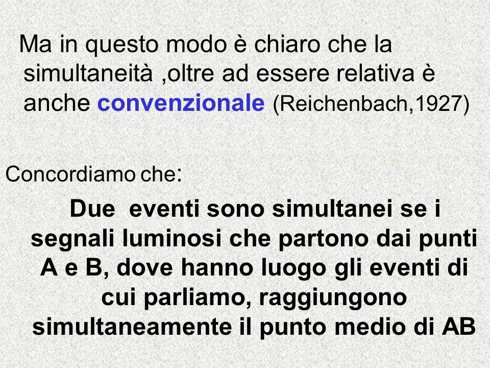 Ma in questo modo è chiaro che la simultaneità ,oltre ad essere relativa è anche convenzionale (Reichenbach,1927)