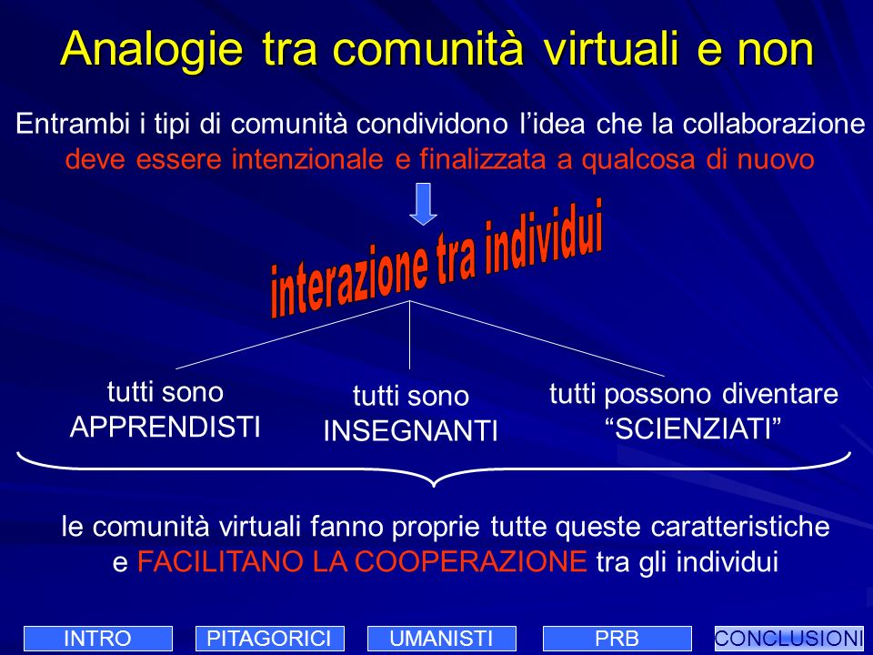 Analogie tra comunità virtuali e non