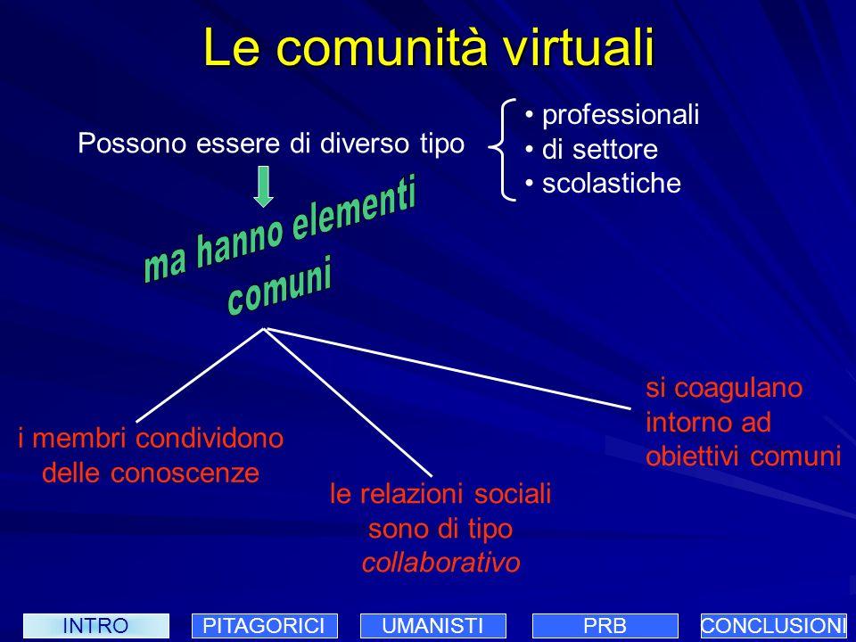 Le comunità virtuali ma hanno elementi comuni professionali di settore
