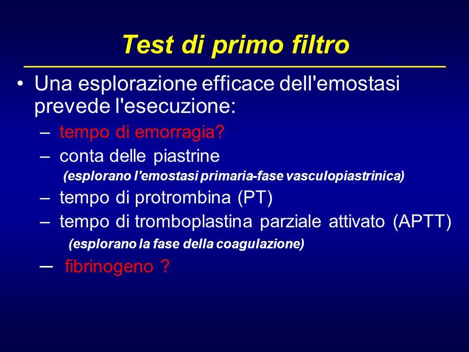 Test di primo filtro Una esplorazione efficace dell emostasi prevede l esecuzione: tempo di emorragia