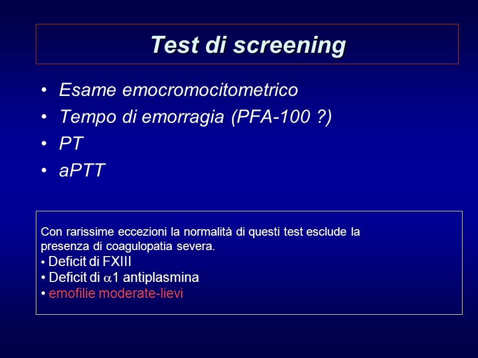 Test di screening Esame emocromocitometrico