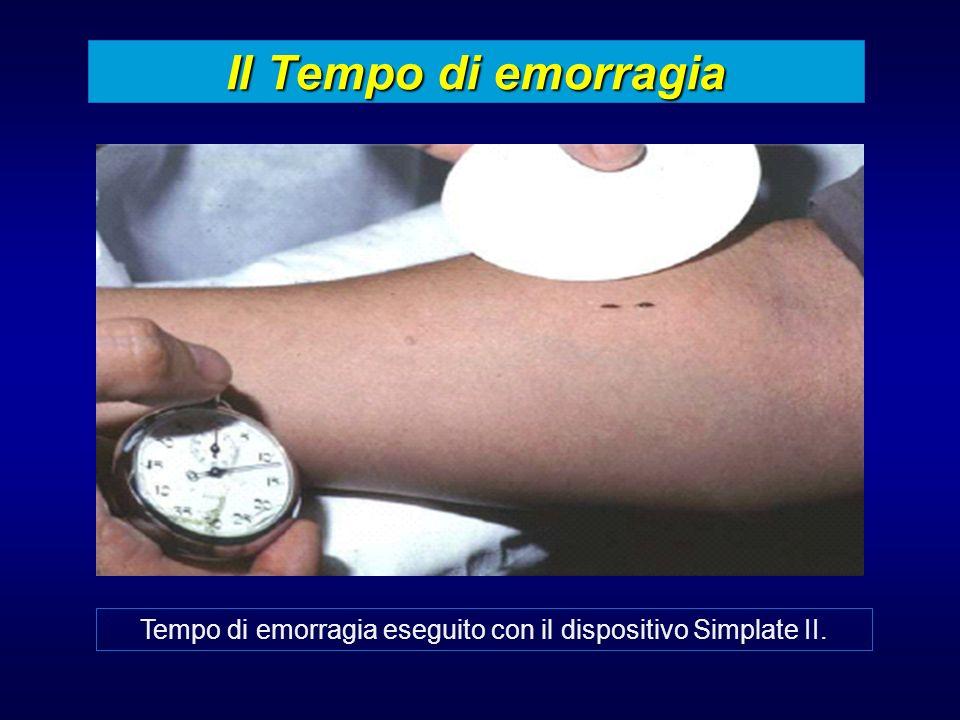 Tempo di emorragia eseguito con il dispositivo Simplate II.