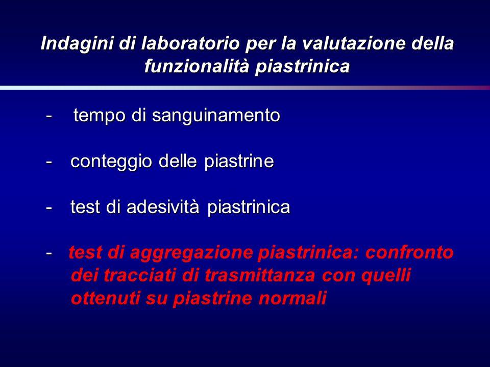 Indagini di laboratorio per la valutazione della funzionalità piastrinica