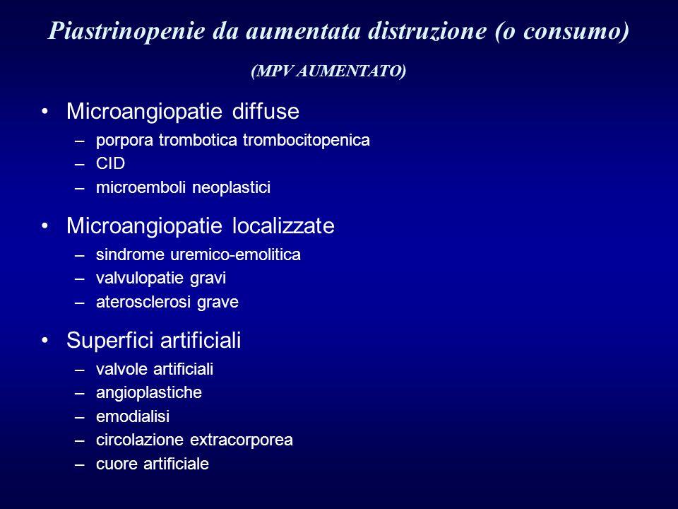 Piastrinopenie da aumentata distruzione (o consumo)