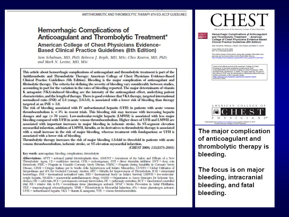 The major complication of anticoagulant and thrombolytic therapy is bleeding.