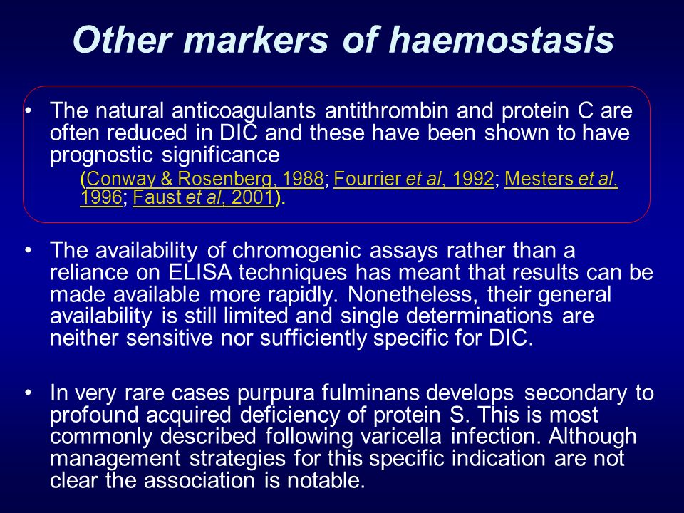 Other markers of haemostasis