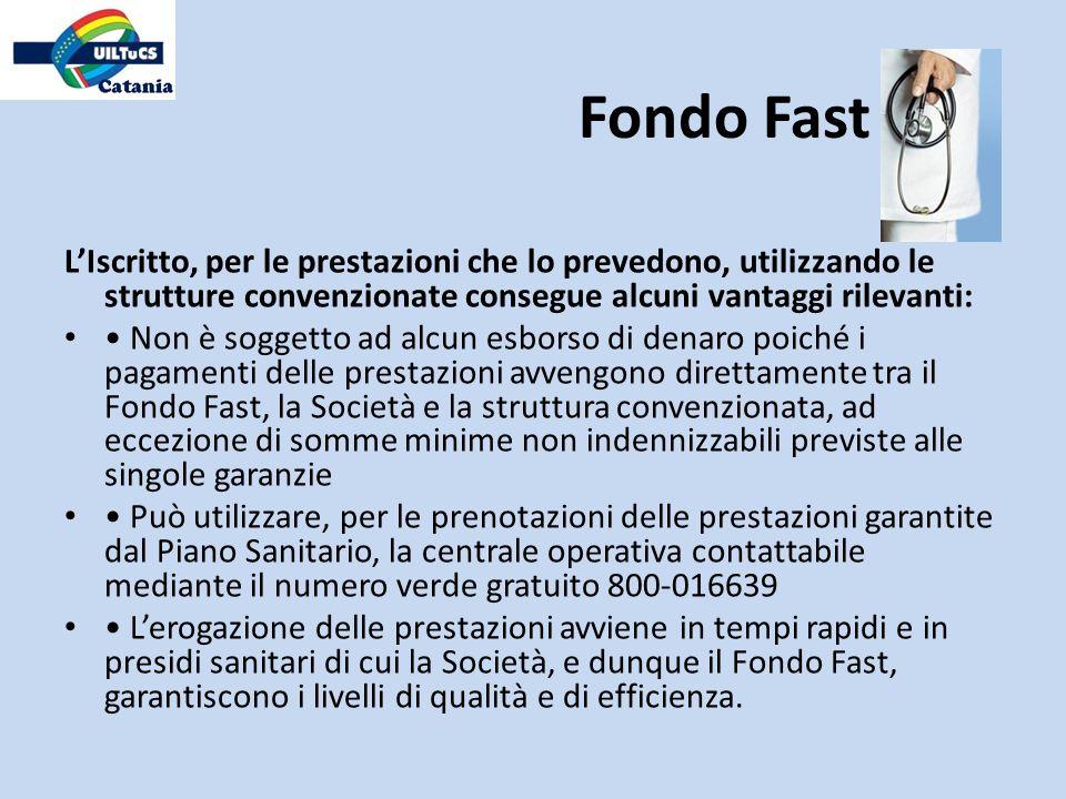 Fondo Fast L'Iscritto, per le prestazioni che lo prevedono, utilizzando le strutture convenzionate consegue alcuni vantaggi rilevanti: