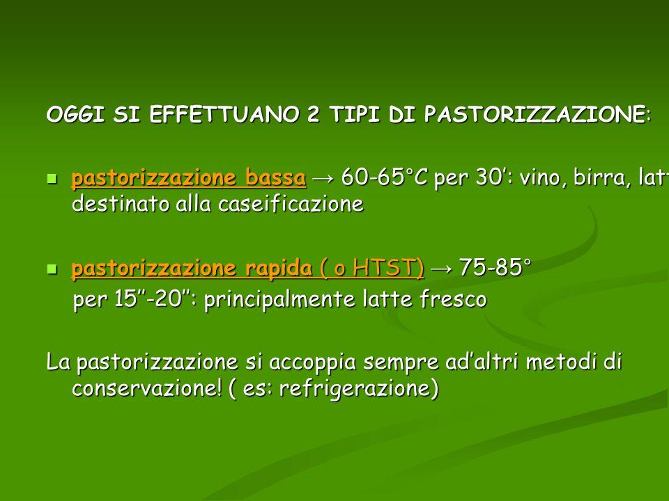 pastorizzazione rapida ( o HTST) → 75-85°
