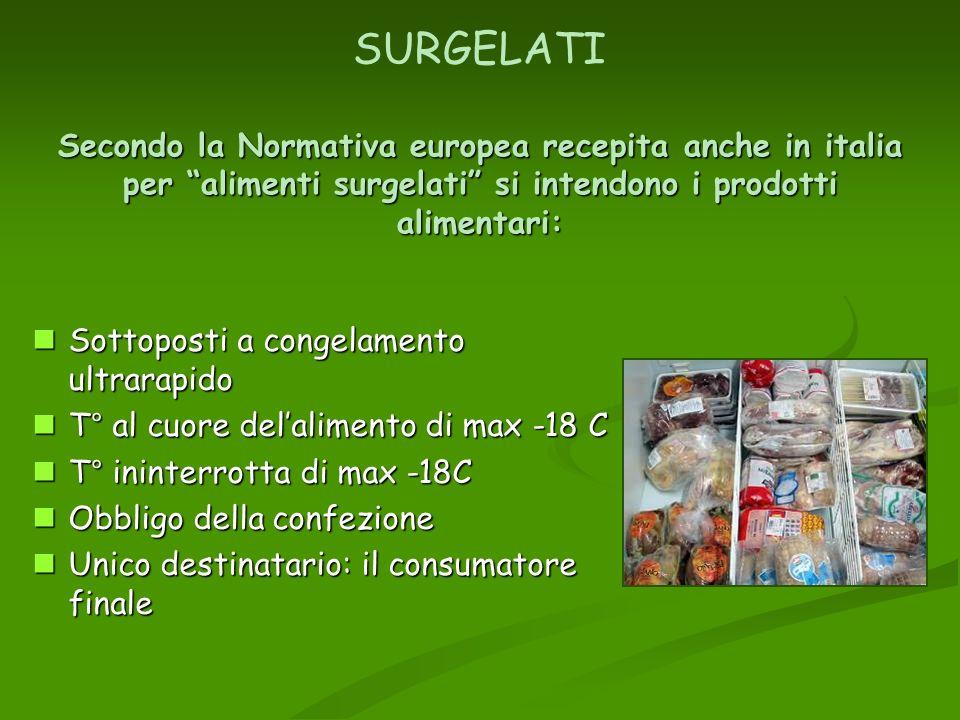 SURGELATI Secondo la Normativa europea recepita anche in italia per alimenti surgelati si intendono i prodotti alimentari: