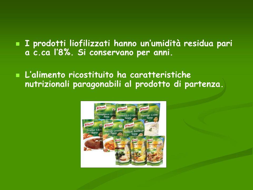 I prodotti liofilizzati hanno un'umidità residua pari a c. ca l'8%