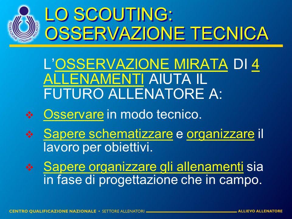 LO SCOUTING: OSSERVAZIONE TECNICA