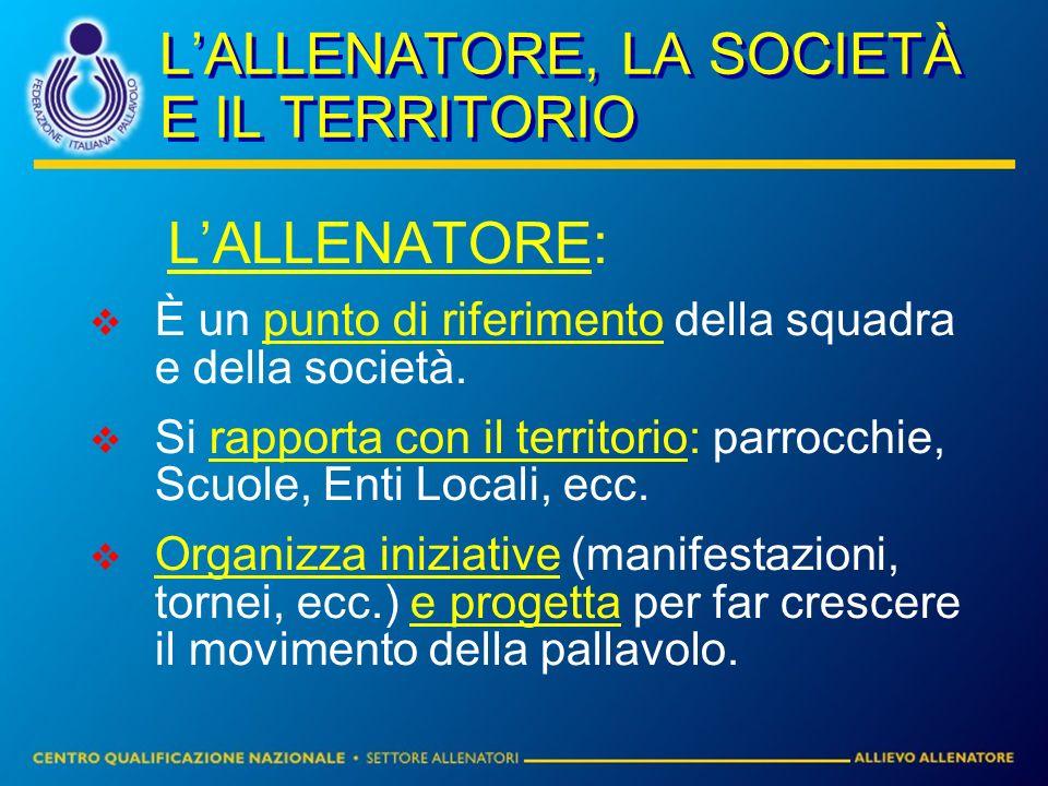 L'ALLENATORE, LA SOCIETÀ E IL TERRITORIO