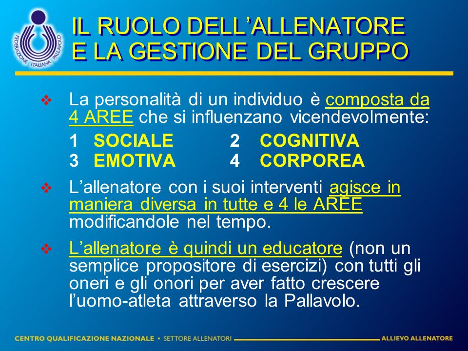 IL RUOLO DELL'ALLENATORE E LA GESTIONE DEL GRUPPO