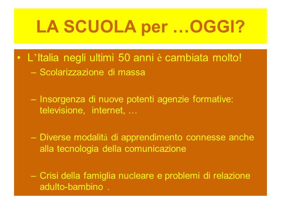 LA SCUOLA per …OGGI L'Italia negli ultimi 50 anni è cambiata molto!