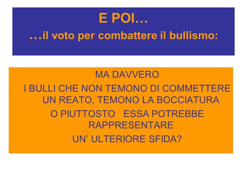 E POI… …il voto per combattere il bullismo: