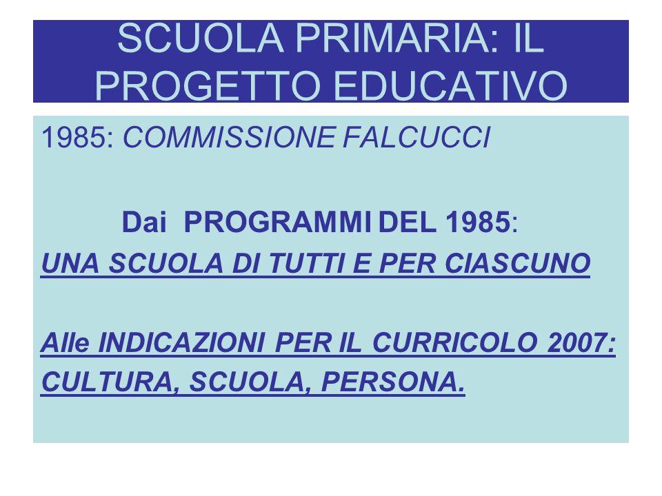 SCUOLA PRIMARIA: IL PROGETTO EDUCATIVO