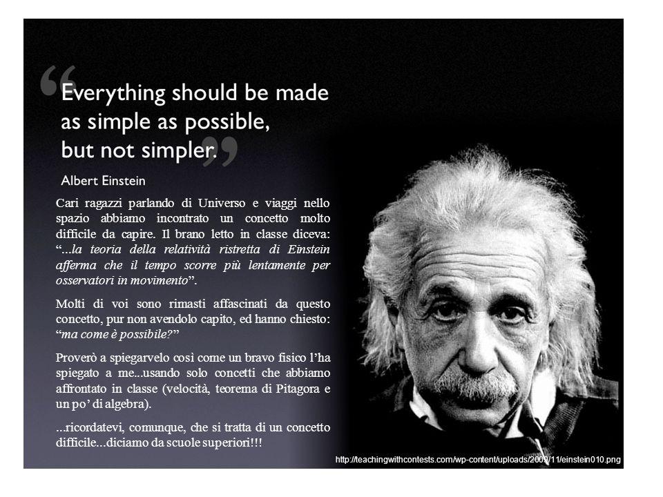 Cari ragazzi parlando di Universo e viaggi nello spazio abbiamo incontrato un concetto molto difficile da capire. Il brano letto in classe diceva: ...la teoria della relatività ristretta di Einstein afferma che il tempo scorre più lentamente per osservatori in movimento .