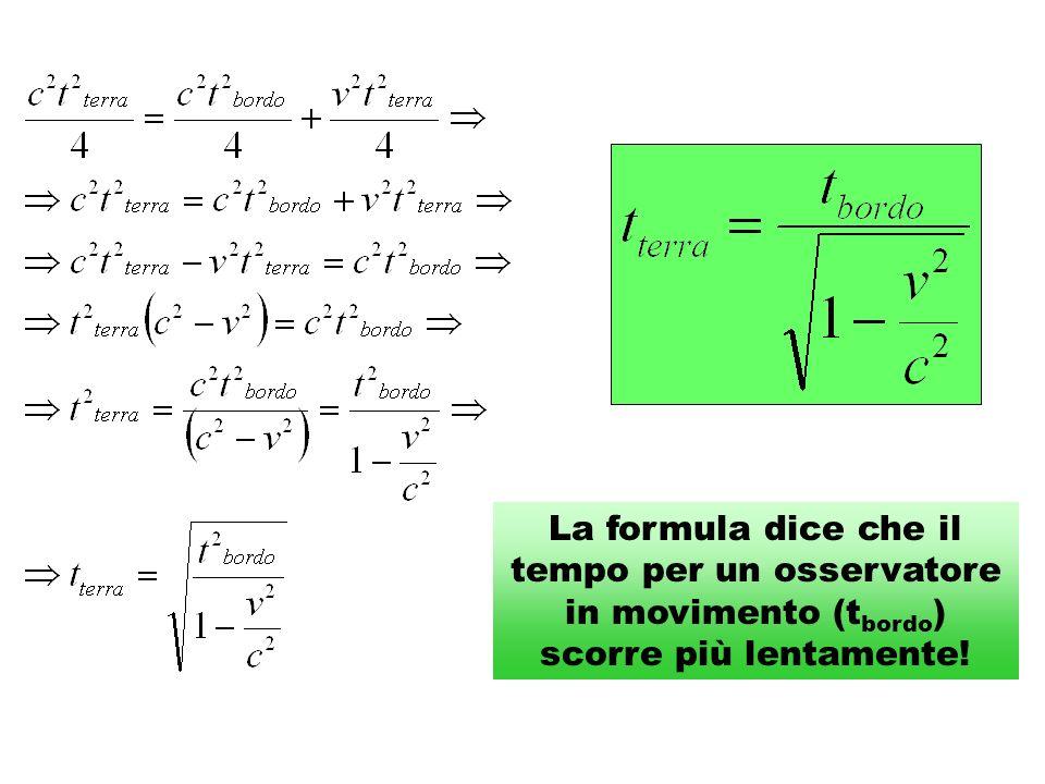 La formula dice che il tempo per un osservatore in movimento (tbordo) scorre più lentamente!