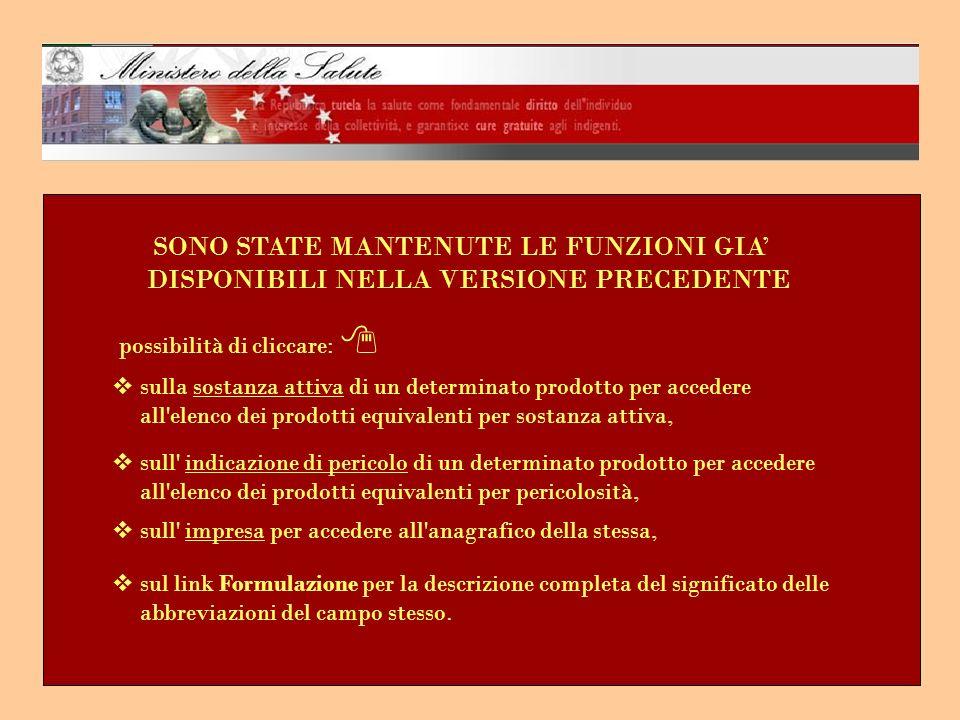 SONO STATE MANTENUTE LE FUNZIONI GIA' DISPONIBILI NELLA VERSIONE PRECEDENTE