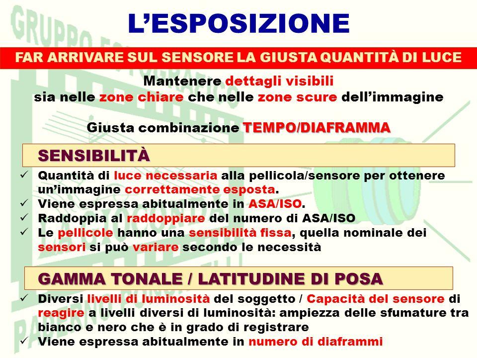 L'ESPOSIZIONE SENSIBILITÀ GAMMA TONALE / LATITUDINE DI POSA