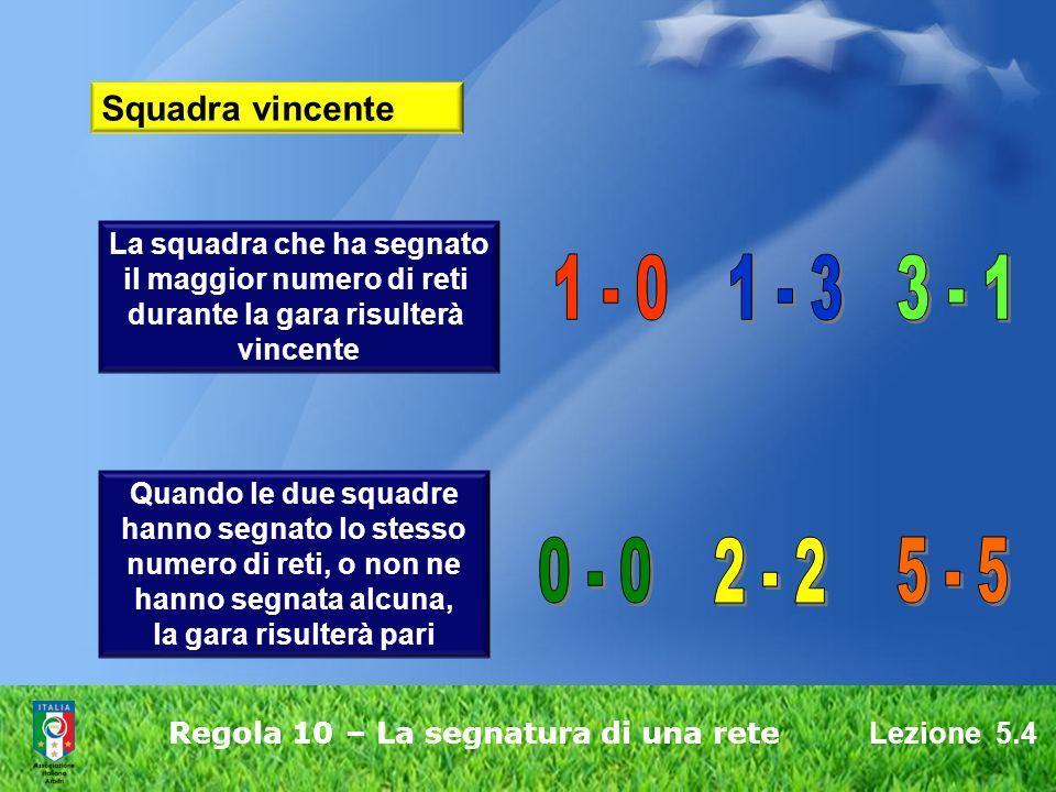 1 - 0 1 - 3 3 - 1 0 - 0 2 - 2 5 - 5 Squadra vincente