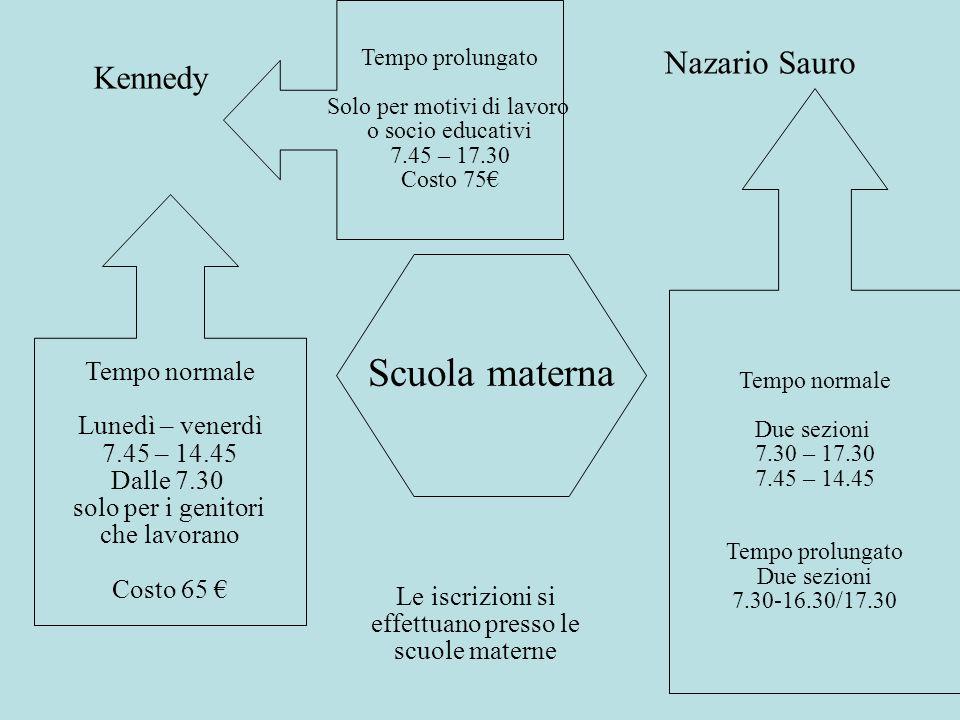 Scuola materna Nazario Sauro Kennedy Tempo normale Lunedì – venerdì